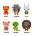 set of isolated hedgehog and kid urchin leopard vector image vector image