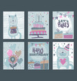 set of three happy birthday party cards vector image vector image