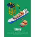 Shipment isometric banner with container ship vector image