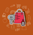shopping paper bag scanner and tag price vector image