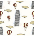 sketch pisa tower vintage seamless pattern vector image