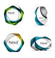 swirl hexagon set geometric business icons vector image
