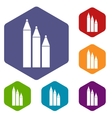 Three pencils icons set vector image vector image