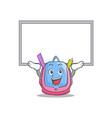 up board school bag character cartoon vector image