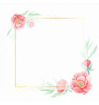 watercolor red peony flower with geometric golden vector image vector image