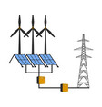 windmills and solar panels vector image