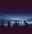wolf in mountains landscape flat vector image