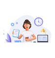 young woman jane - freelance worker working vector image