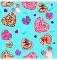 Seamless background with stylized hearts vector image