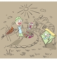 Family picnic in the garden of the house vector image