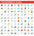 100 university icons set isometric 3d style vector image vector image