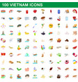 100 vietnam icons set cartoon style vector image vector image