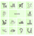 14 waves icons vector image vector image