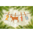 2015 with a goat on winter background vector image vector image