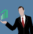 a business man showing the money market rising vector image vector image