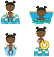 African-American swimmer girls vector image vector image