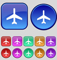 airplane icon sign A set of twelve vintage buttons vector image