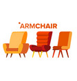 armchair home furniture isolated flat vector image vector image