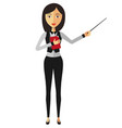 asian businesswoman or teacher with a pointer vector image