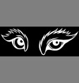 big eyes silhouette in black background vector image vector image
