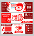 blood donor center banner for health charity vector image vector image