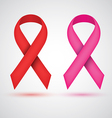Breast ribbon red and pink vector image