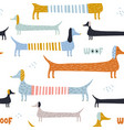 childish seamless pattern with colorful dachshunds vector image vector image