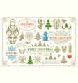 christmas decoration symbols ornate vector image
