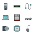 Computer repair icons set flat style vector image vector image