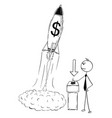 conceptual cartoon of start up of business rocket vector image