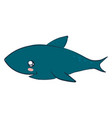cute shark on white background vector image vector image