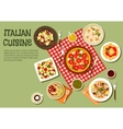 Delicious picnic dishes of italian cuisine icon vector image vector image