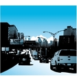 Downtown city and traffic on highway vector image
