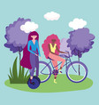 eco friendly transport women with unicycle and vector image