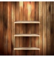 Empty shelf for exhibit on wood background EPS 10 vector image vector image