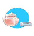 face cream in beautiful transparent glass jar vector image vector image