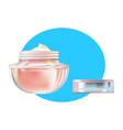face cream in beautiful transparent glass jar vector image vector image