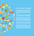 food and drinks banner with dairy products vector image vector image