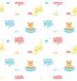 funny cats seamless pattern vector image