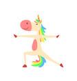 funny unicorn in hero position fantasy beautiful vector image vector image