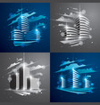futuristic buildings set modern architecture with vector image vector image