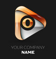 golden letter o logo in golden-silver triangle vector image vector image