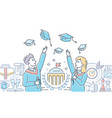 graduating students - colorful line design style vector image vector image