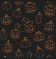 halloween seamless pattern with smiling pumpkins vector image vector image