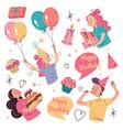 happy birthday doodle hand drawn design element vector image