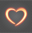 heart from light fire isolated on transparency vector image