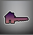 home key sign violet gradient icon with vector image vector image