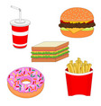 isolated delicious fast food icon set vector image vector image