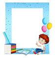 Little boy and books around border vector image vector image