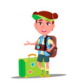 little traveler girl with suitcase cap on his vector image vector image